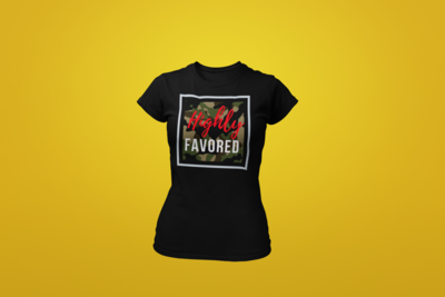Highly Favored Women's Tee | Camo Red| Black T-Shirt