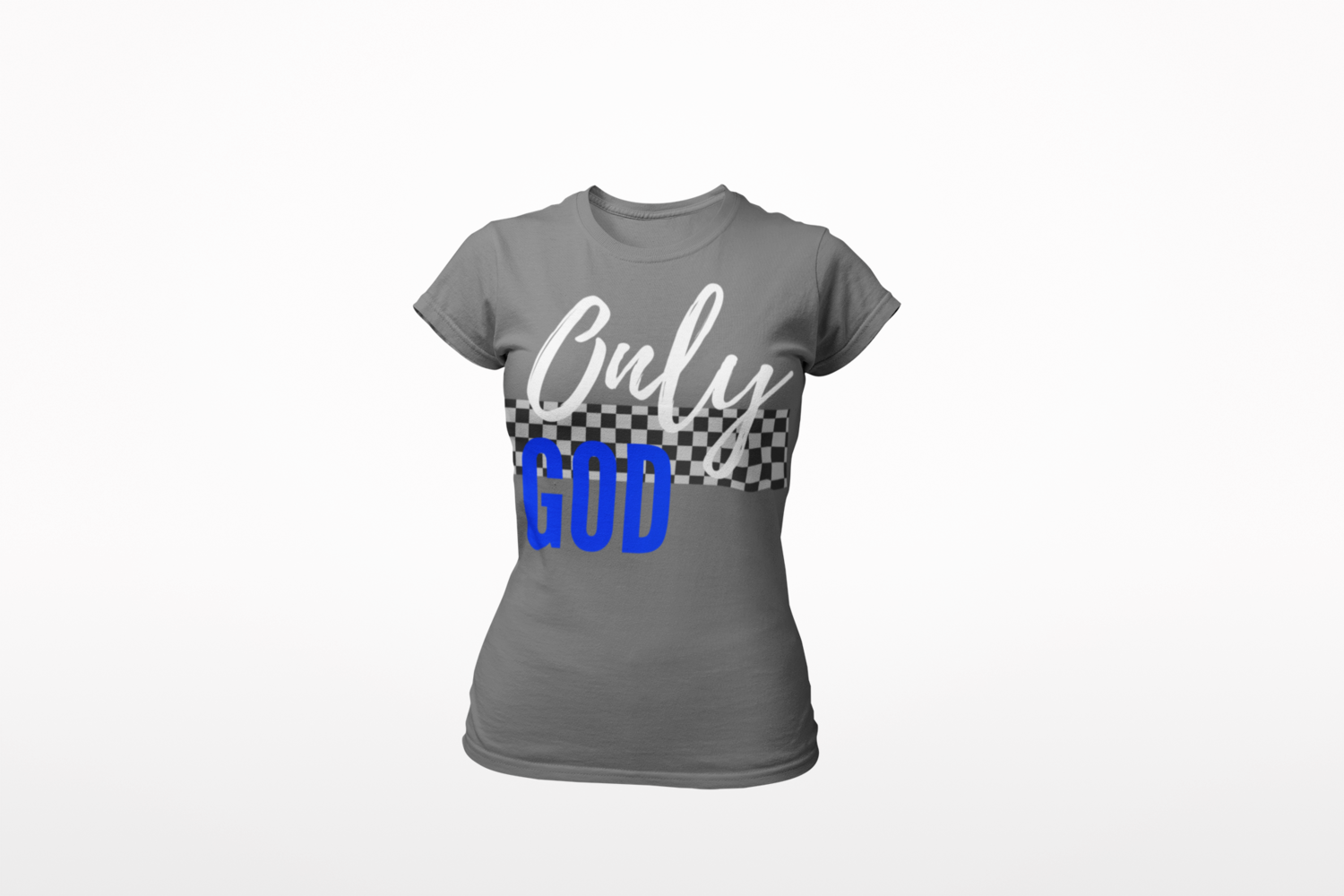Only God| Women's Tee | Racer Stripe | Gray T-Shirt