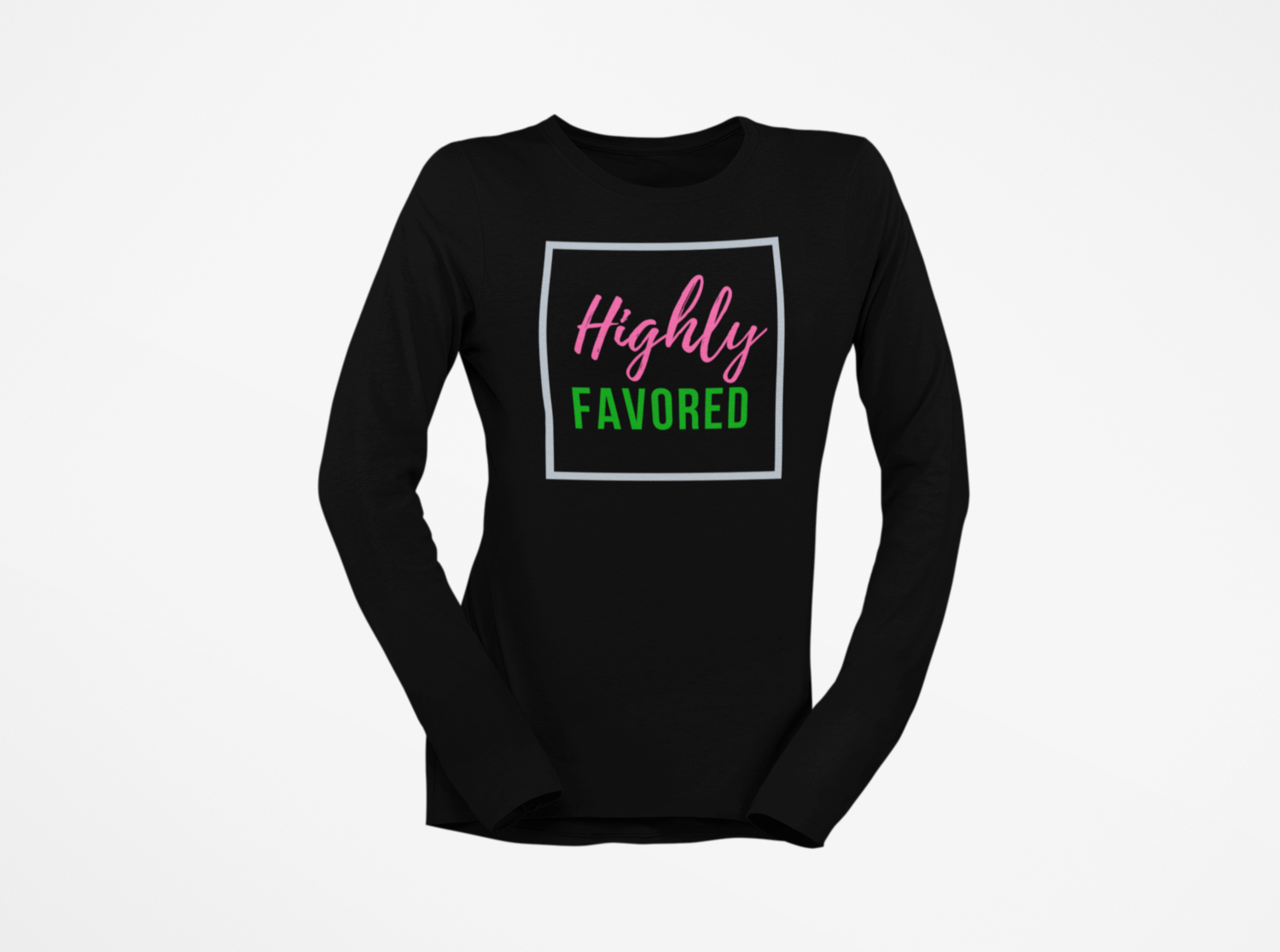 Highly Favored Pink& Green | Women's Long Sleeve Black T-Shirt