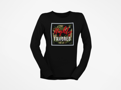 Highly Favored Women's Long Sleeve | Warrior Camo Red| Black T-Shirt