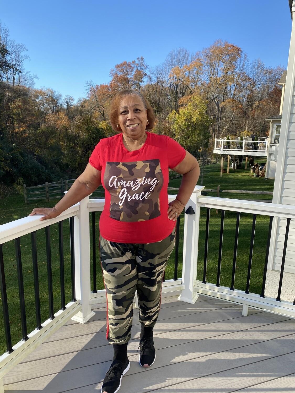Amazing Grace Women's Tee   Fatigue  Red T-Shirt
