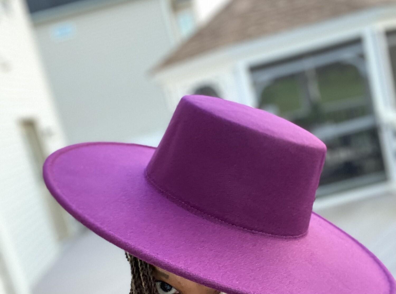 Flat Top Hat - Wide Brim Purple Passion