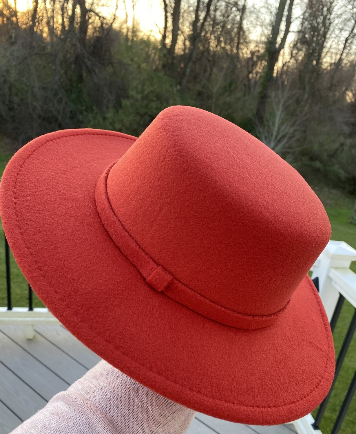 Flat Top Brim Hat -Ravishing Rust