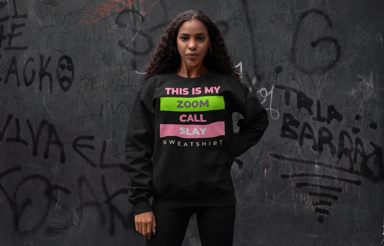 Zoom Slay Sweatshirt Pink & Green | Black