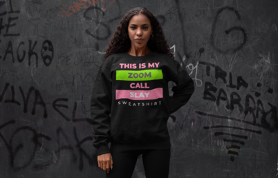 Zoom Slay Sweatshirt Pink & Green | Black