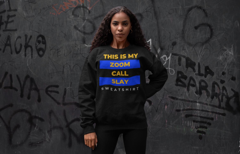 Zoom Slay Sweatshirt Gold & Blue | Black