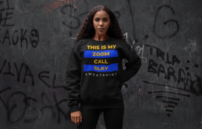 Zoom Slay Sweatshirt Gold & Blue | Black