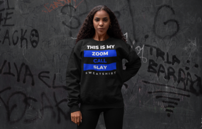 Zoom Slay Sweatshirt Blue & White | Black