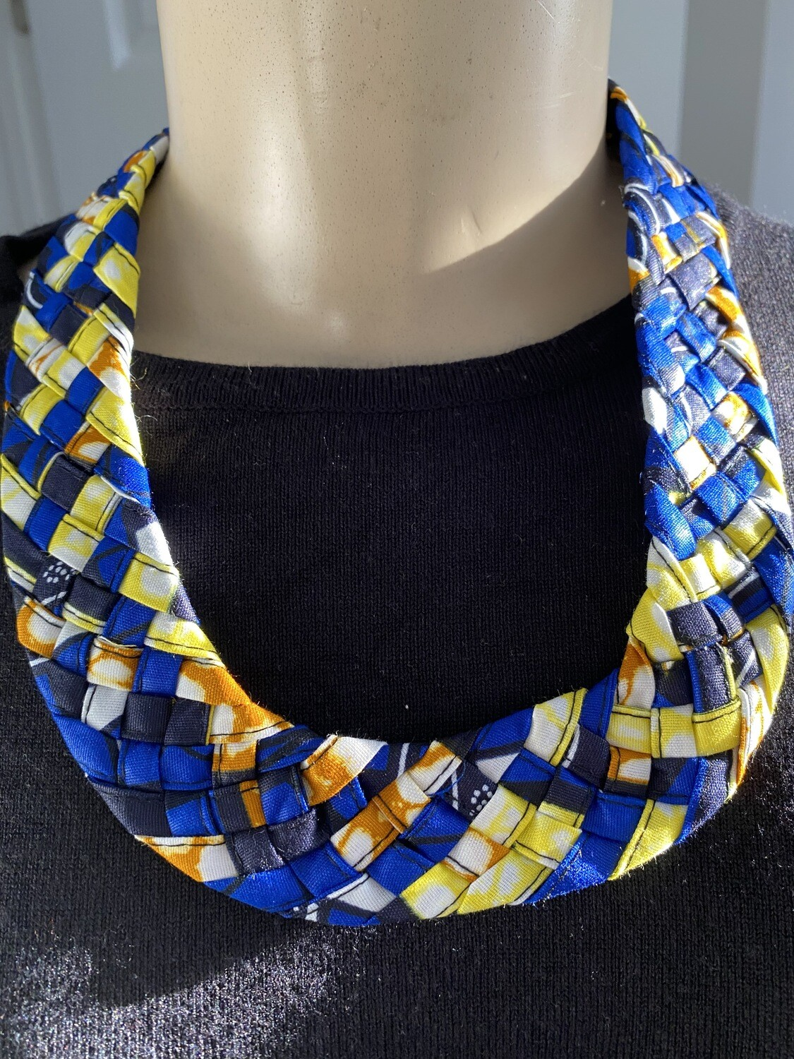 Braided Fabric Pattern Bib Necklace | Jewelry | Birthday Gifts|