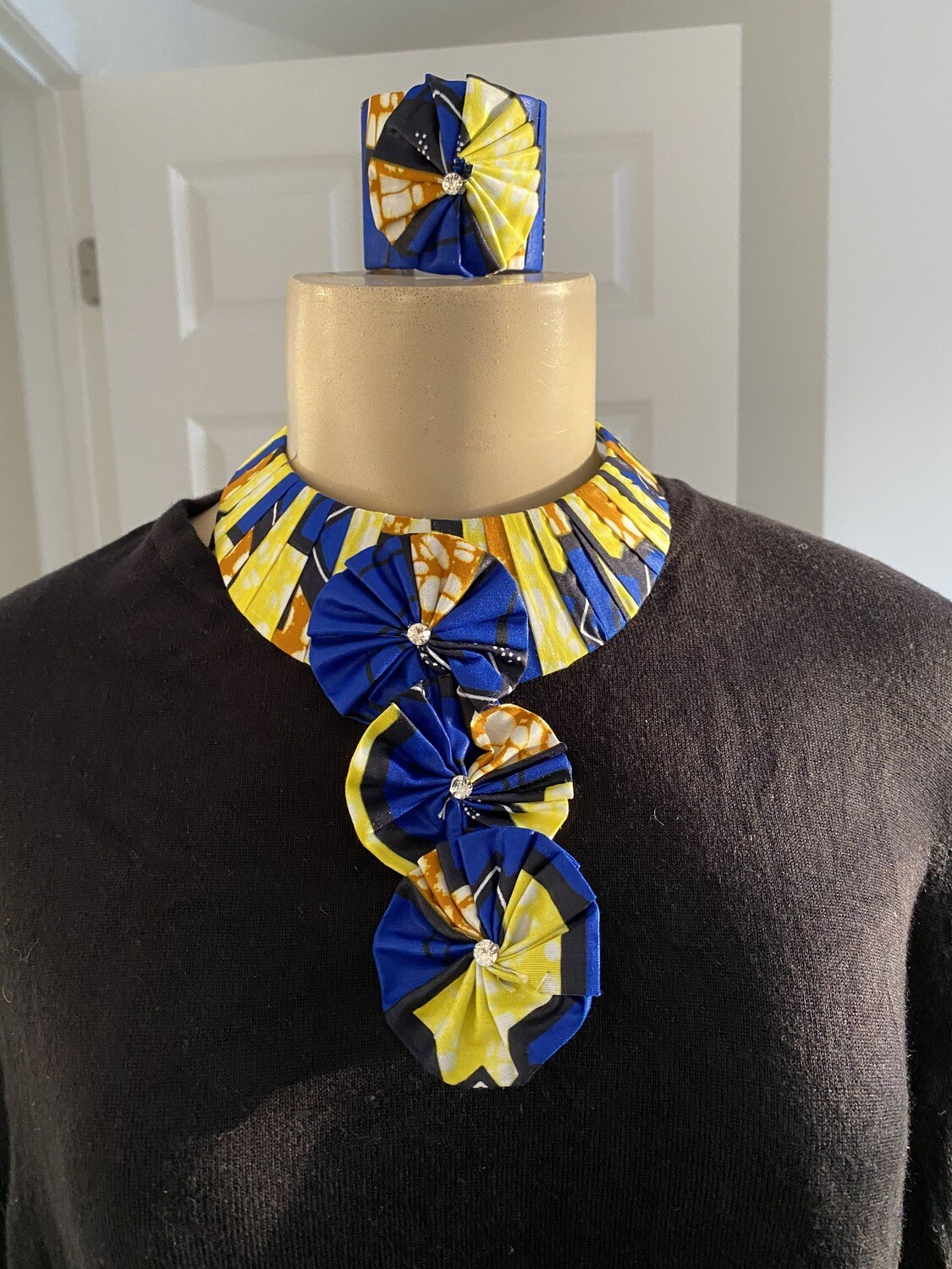 African Style Pattern Fabric Bib Necklace | Cuff Bracelet Included| Jewelry | Birthday Gifts|