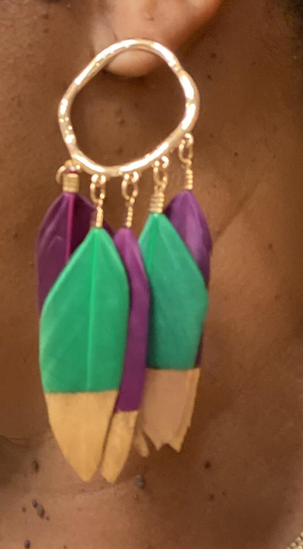 Mardi Gras Earrings |  Feather Jewelry | Gifts|