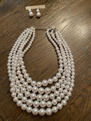 White Five Row Pearl Strand Necklace Set
