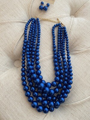 Royal Blue Five Row Pearl Strand Necklace Set