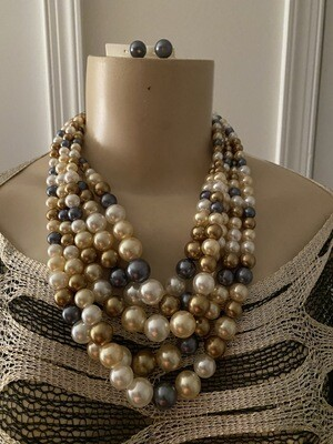 Gold Multi Five Row Pearl Strand Necklace Set