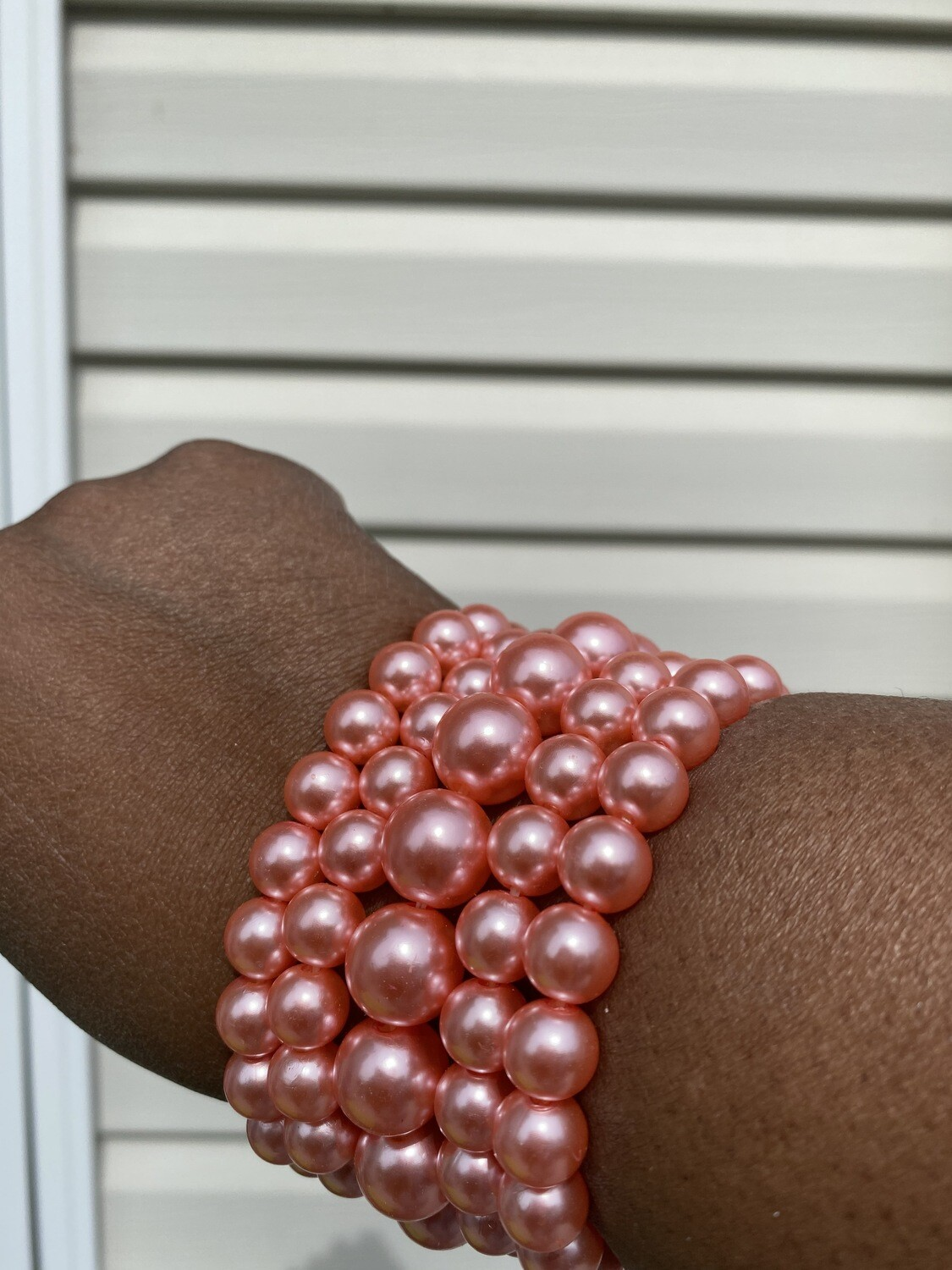 Five Pink Pearl Stacked Bracelets