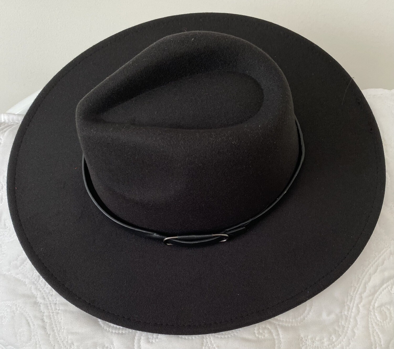 Panama Belted Red Bottom Brim Hat  | Trendy Accessories | Unique Gifts | Stylish Black Hats | Christmas Gifts