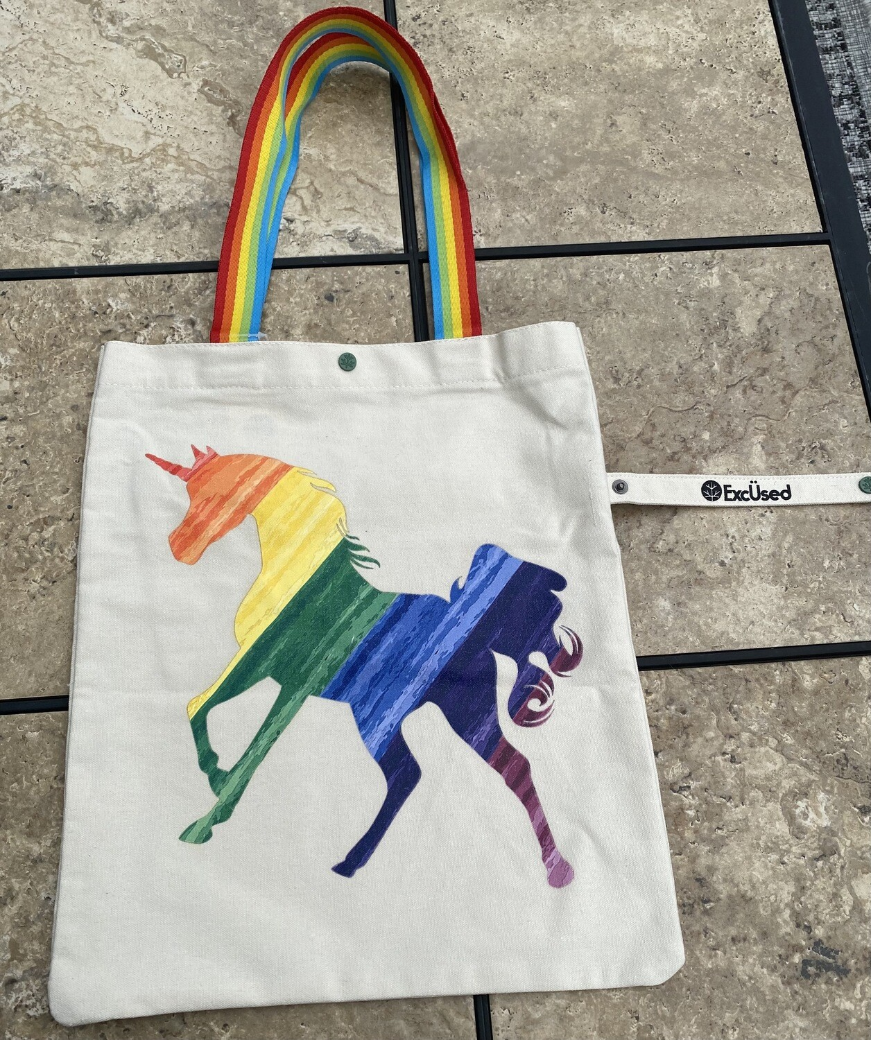 Rainbow Unicorn Eco Bag   Foldable Snap Tote Bags  Trendy Accessories   Gifts