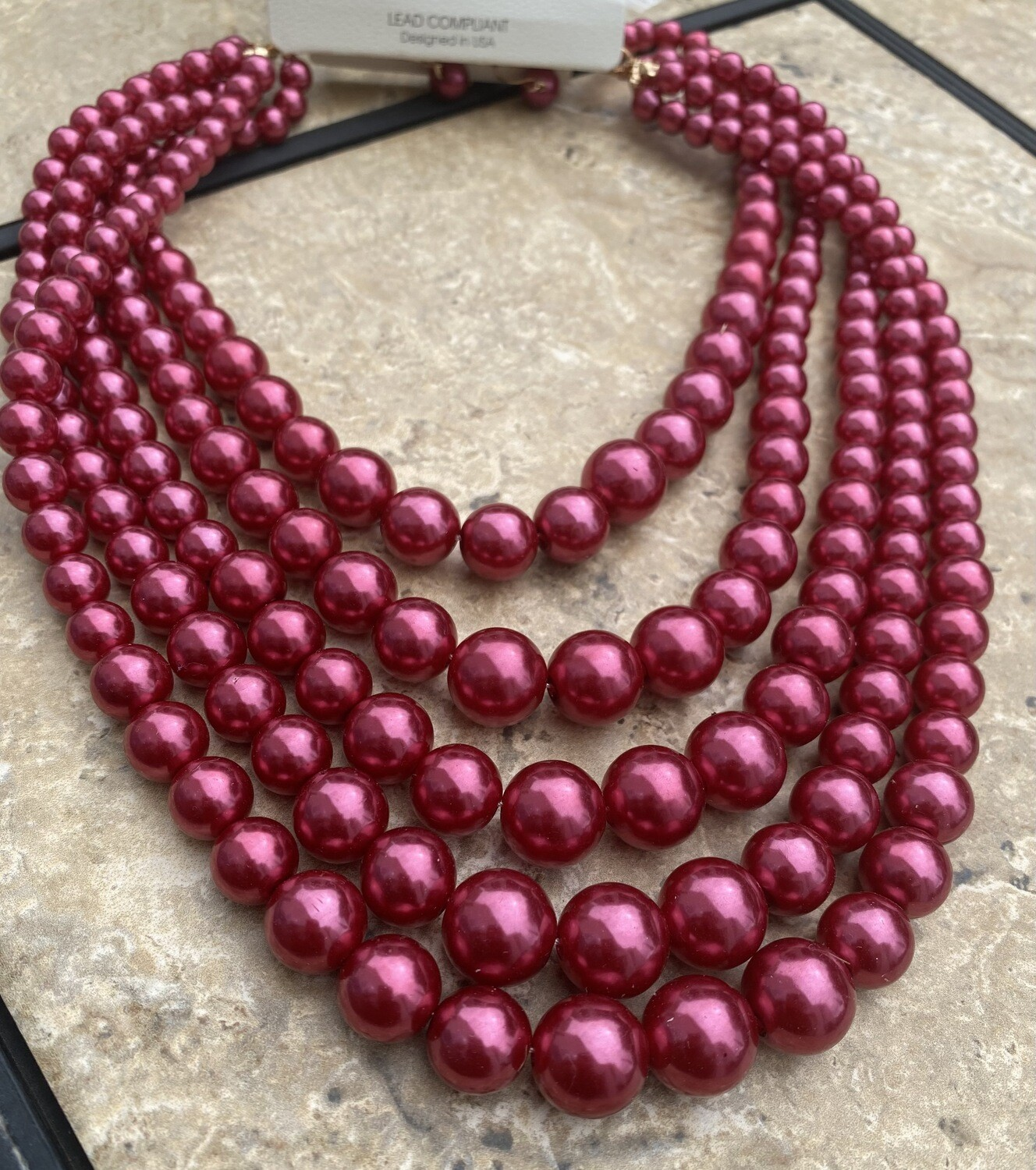 Five Row Pearl Strand Necklace Set - Red