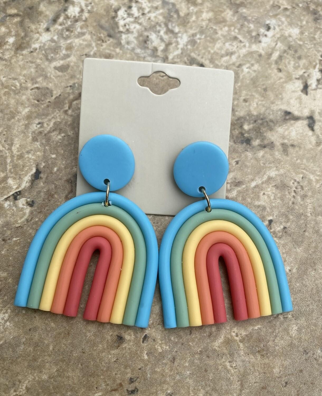 Rainbow Polymer Clay Dangle Earrings  |  Trendy Earrings | Unique Jewelry | Gifts