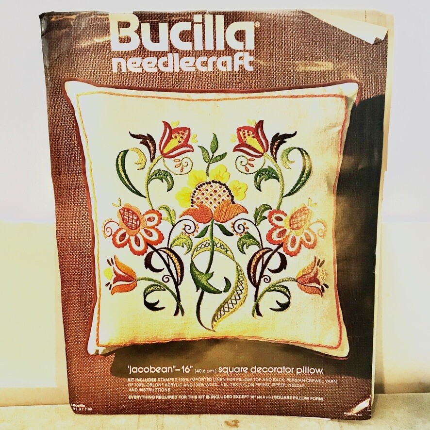 Buicilla Needlecraft Kit 16 in Square Decorator Pillow