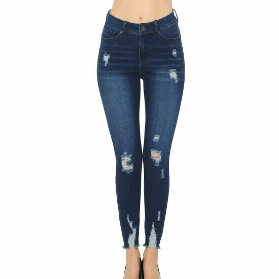 BLUE JEANS HIGH-RISE PUSH-UP RIPPED HEM WITH DESTRUCTIONS (STYLE 90175)