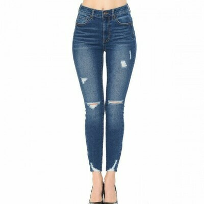 BLUE JEANS PUSH-UP ANKLE AND HEM DESTRUCTED HIGH-RISE SKINNY (STYLE 90218)