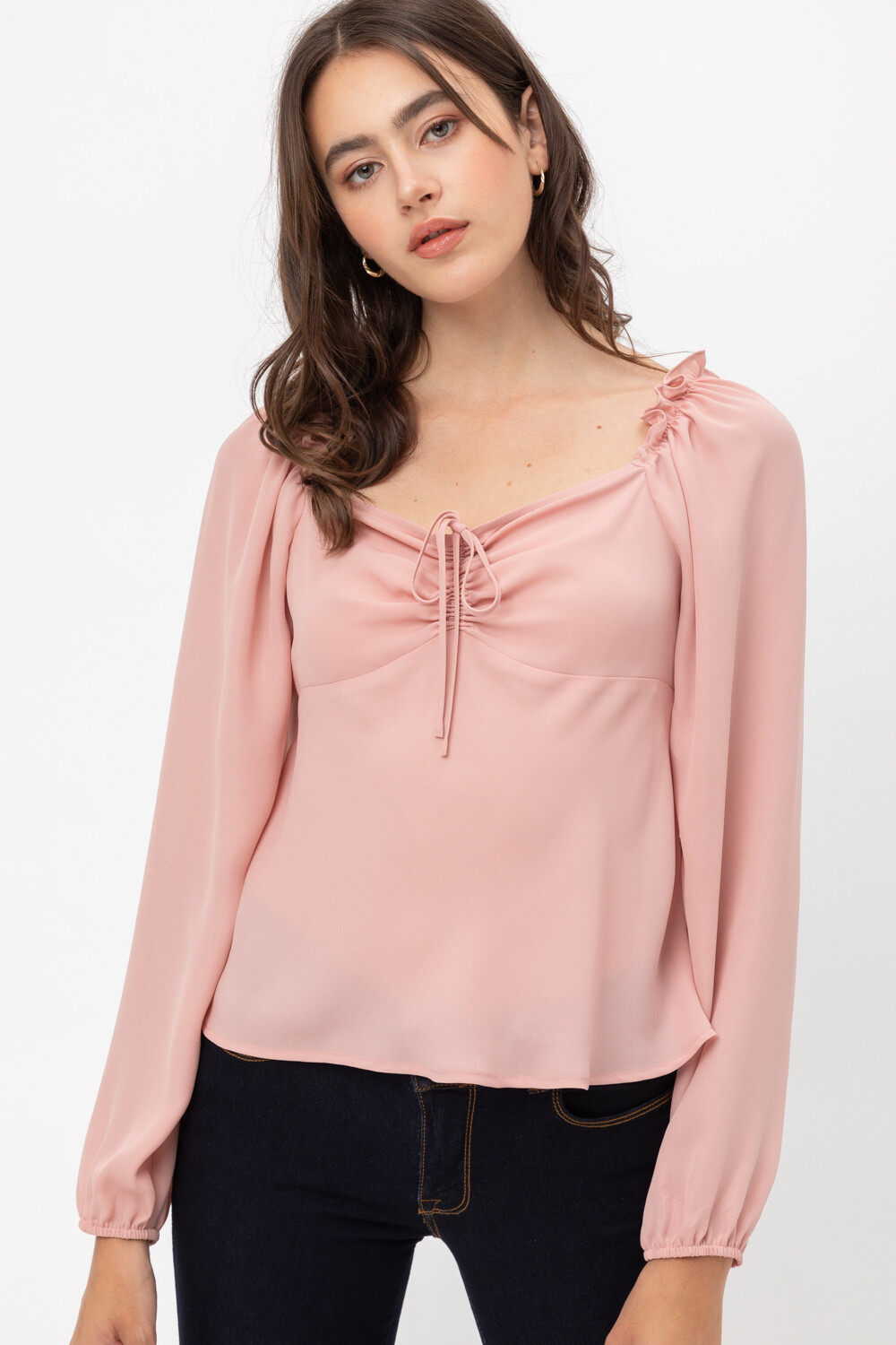 FRONT GATHER PUFF SLEEVE WOVEN TOP DARK MAUVE