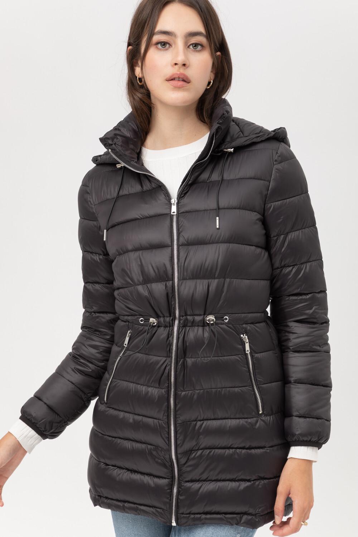 Black Ultra Lightweight Long Line Padded Puffer Coat