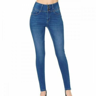 BLUE JEANS MEDIUM PUSH-UP HIGH-RISE SKINNY WITH MULTI-BUTTON WAISTBAND (STYLE 90160)