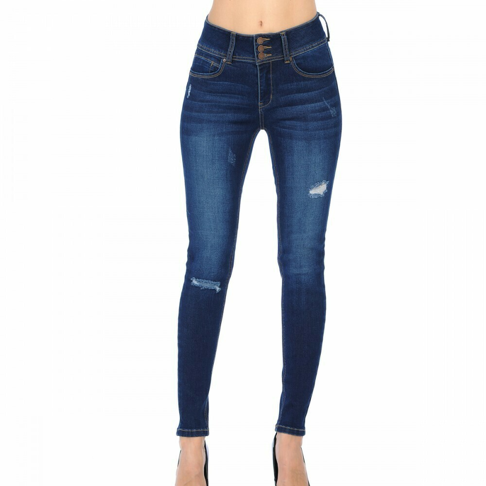 BLUE JEAN DARK PUSH-UP HIGH-RISE DESTRUCTED SKINNY WITH STACKED BUTTONS (STYLE 90156)