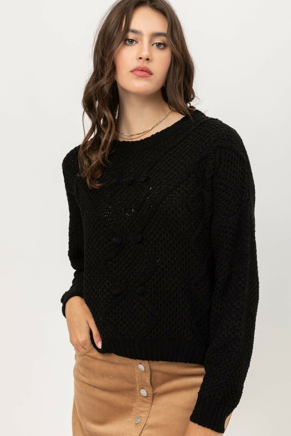 BLACK CHENILLE DETAIL FRONT SWEATER TOP