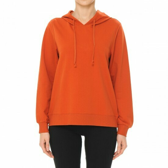BRIGHT RUST-ACTIVE FRENCH TERRY LONG SLEEVE HOODIE