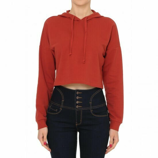 RUST - STYLE 70677-ACTIVE FRENCH TERRY LONG SLEEVE CROP HOODIE