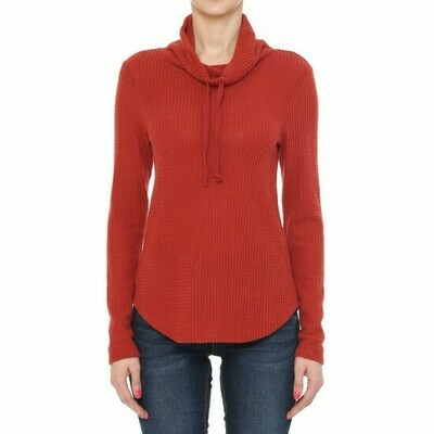 RUST-WAFFLE KNIT COWL NECK LONG SLEEVE TOP