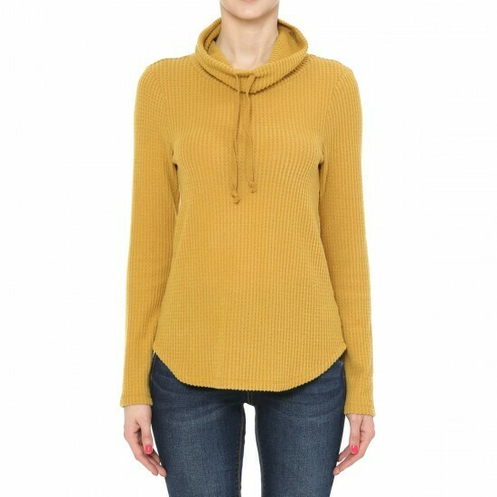 DARK MUSTARD - STYLE 72845-WAFFLE KNIT COWL NECK LONG SLEEVE TOP