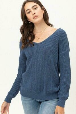 OCEAN TWISTED BACK LIGHT WEIGHT METALLIC SWEATER