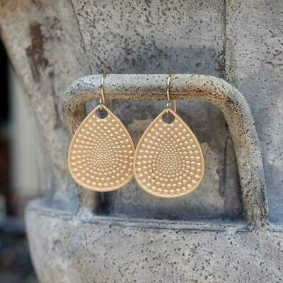 Matte Gold Textured Teardrop Earrings