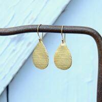 Hammered Matte Gold Vermeil Teardrop Earrings