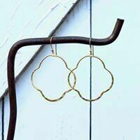 Hammered Gold Vermeil Quatrafoil Hoop Earrings