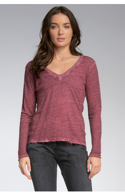 Long Sleeved V-neck Burgundy Top