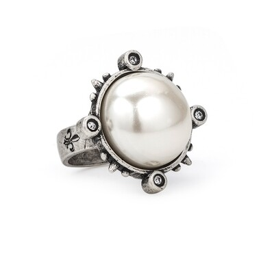 Spiked Ring W/ Pearl Cabochon