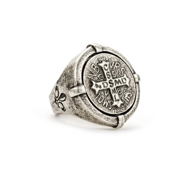 Silver Signet Ring w/mini St Benedict sz 9