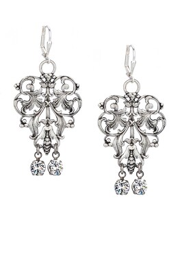 Silver French Filigree Earrings w/ Crystal Swarovski Dangles