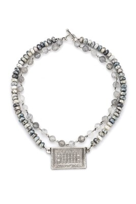 Double Strand Cloudy Quartz w/ Silver Wire, Faceted Silverite & Rouen-Tapis Medallion