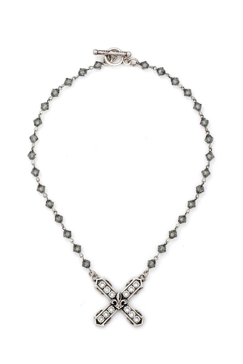 "16"" Black Diamond Swarovski w/Silver Wire & Silver Swarovski French Kiss Pendant"