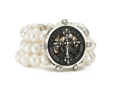 Triple Stranded Pearls & Metal Beads w/Pineau Cross Stack Medallion