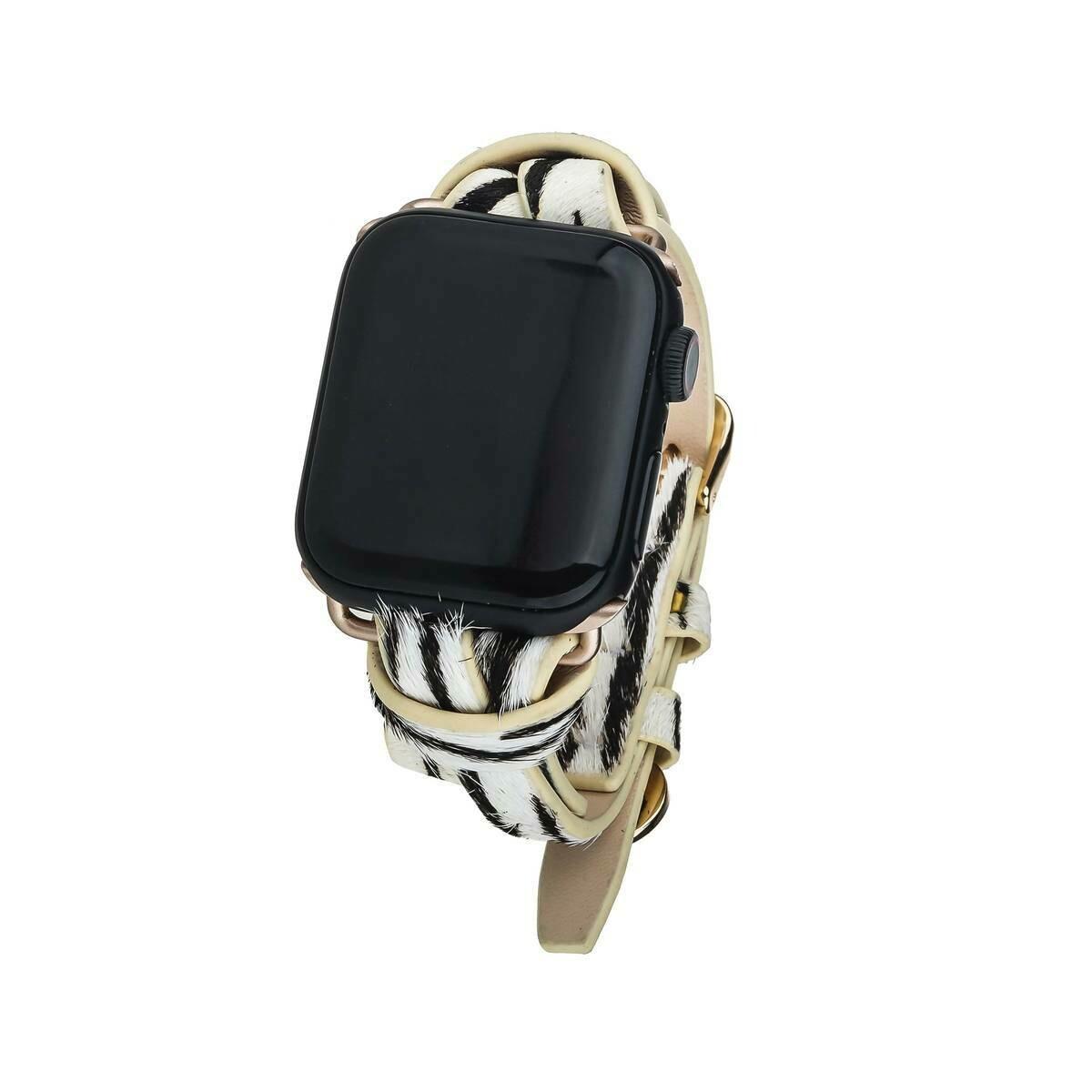 Striped Animal Print Apple Watch Strap on Gold