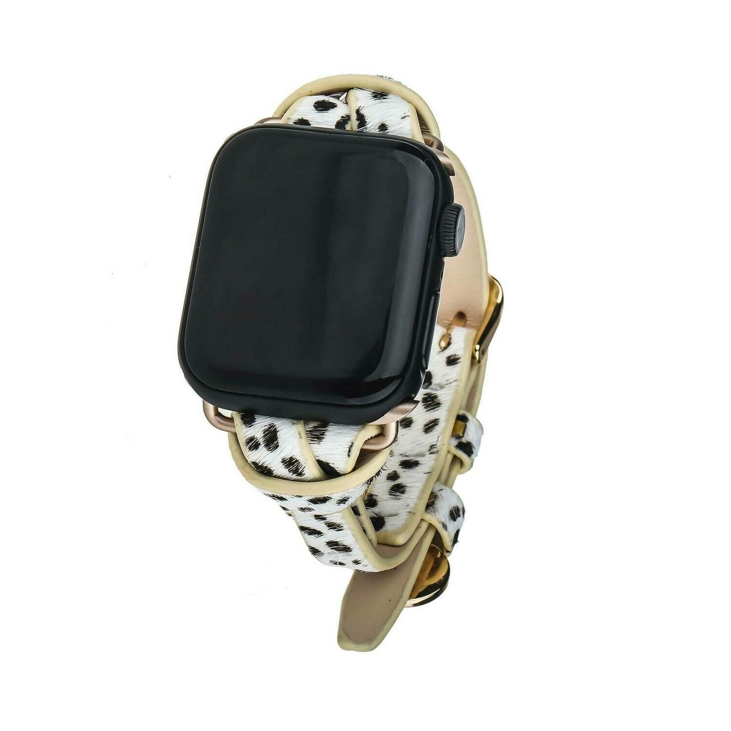 White Spotted Animal Print Apple Watch Strap on Gold
