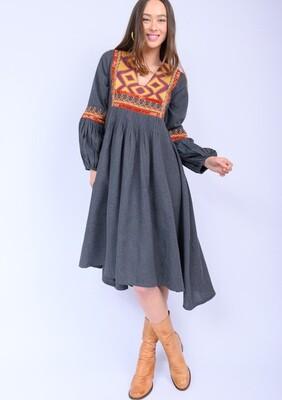 Embrd. Midi Dress