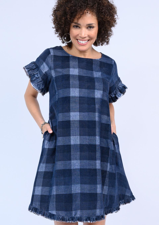 Plaid Corduroy Ruffle Dress